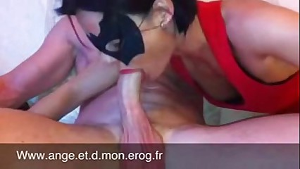 Masked huge deepthroat and cock swallow - allcamtubes.com