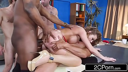 Britney Amber Gets Gang Banged In The Office