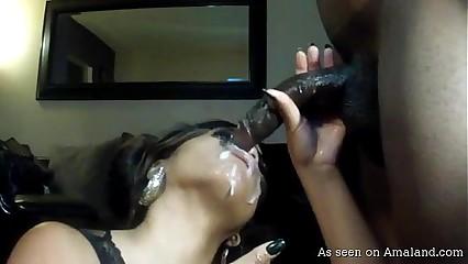 Naughty black chick gets cum facial