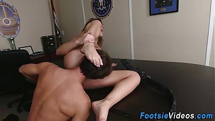 Lady cops feet cumshot
