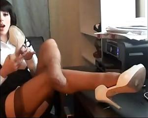 Sexy boss nylon feet show