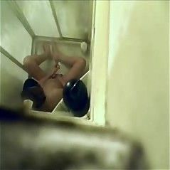 My sister caught fingering in shower. Hidden cam
