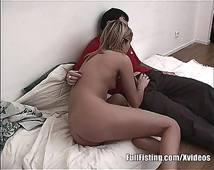Pussy Fisting Blonde Teen Takes Huge Fist
