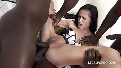 little Nicole Love with bat wing pussy super hardcore interracial gangbang - No