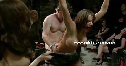 Busty slave tied fucked hard in gang