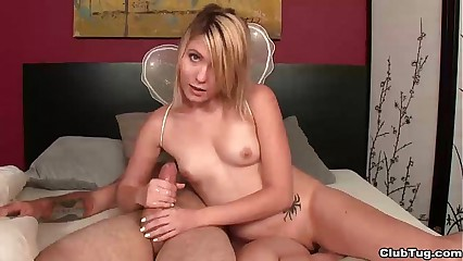 Cute angel girl handjob