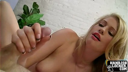 Blonde slut handjob