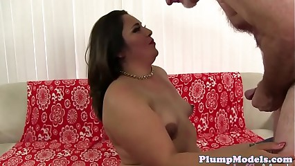 Dicksucking chubby beauty gets doggystyled