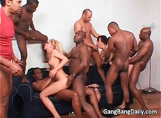 Interracial gang bang session as long