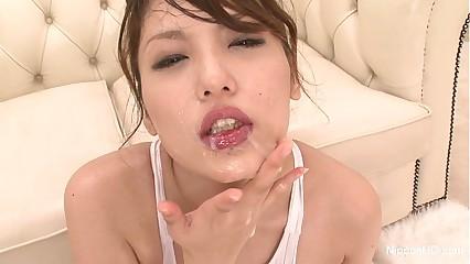 Japanese slut covered in cum