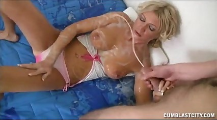 Hot Blonde Gets Splattered