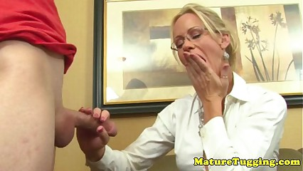 Tugging glamour milf really loves young cock
