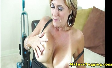 Mature handjob milf with bigtits tugging cock