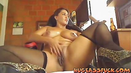 latina big ass enjoys masturbating
