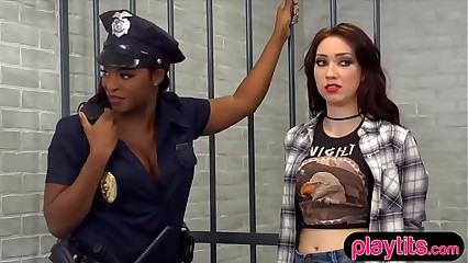 Ebony policewoman versus lesbian deviant with strapon