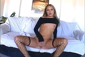 Blonde milf masturbates in lingerie
