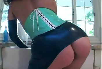 Fucking in shiny latex thigh highs and a corset