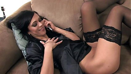 Mandy masturbating on the phone in black nylon