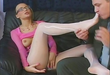 Sheer pantyhose sex and foot fetish