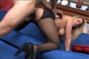 Busty babe having sex in crotchless pantyhose