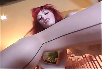 Toe sucking and crotchless pantyhose masturbation