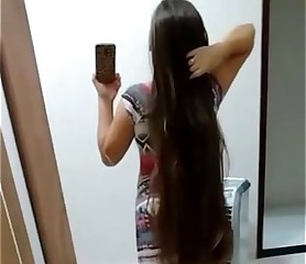 Long hair beautiful babes dance and hair play 2015