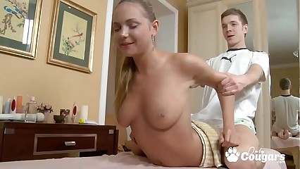 Euro Teen Gets A Full Body Oil Massage & A Creampie From Her Masseuse