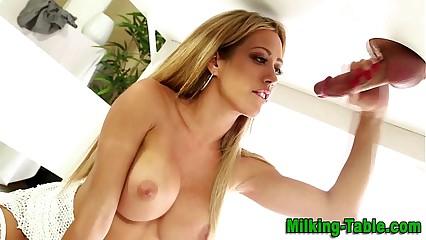Blonde massage babe sucking cock
