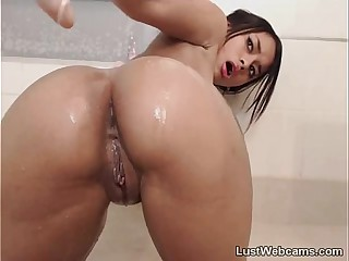 Hot latina fucks her ass with dildo on webcam