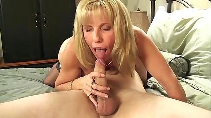 Mature Petite Blond Sucks & Fucks Her Young BoyToy