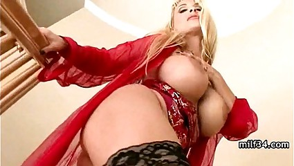 Big-breated horny milf's bedroom seduction