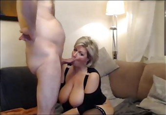 German blond Milf in stockings - 8min.