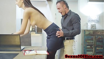 Tall office secretary getting fucked