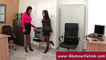 Glamorous secretary copies her boobs