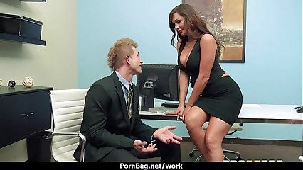 Horny Big-tit MILF fucks employee's big-dick in the office 23