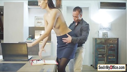 Secretary Kitty Jane fucks her boss in home office