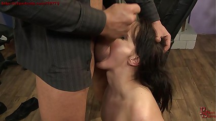 Gorgeous secretery punished in the office
