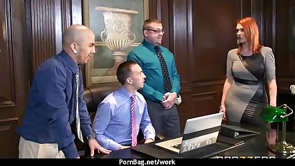 Horny Big-tit MILF fucks employee's big-dick in the office 6