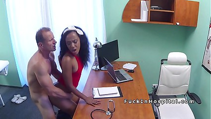 Doctor fucks ebony cleaning lady in office