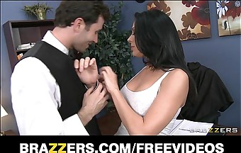 Slutty big tit office worker loves to be dominated at work