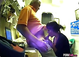 Office manager gets sucked by an intern