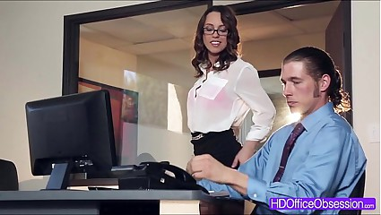 Brunette babe Jade Nile gets fucked in the office in missionary