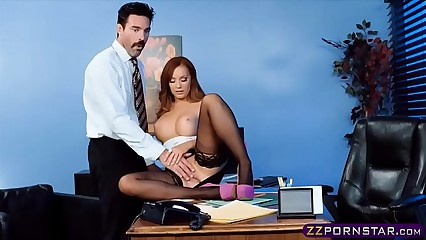 Office chick in stockings and heels gets fucked