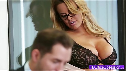 Horny secretary Corinna Blake gets fucked hard in the office