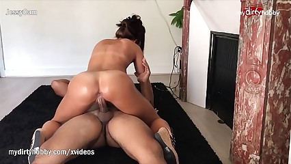 My Dirty Hobby - Oiled babe takes a hard pounding