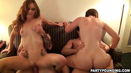 Three Amateurs Pounded In A Motel Orgy