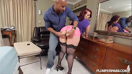 Sexy Brunette BBW Swallows and Fucks First Black Cock