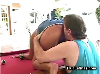 Latina Fucked Hard on the Pool Table