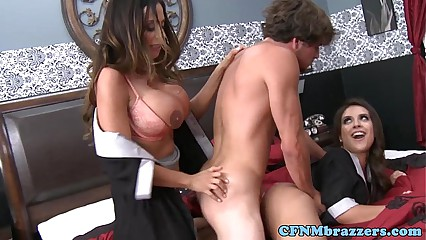 Busty cfnm babes team up for dick