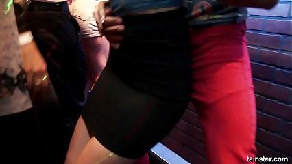 Bi pornstars fuck in public